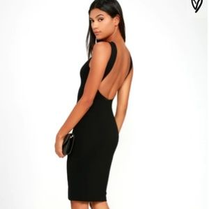 LuLu's Like A Lady Black Backless Midi Dress XS